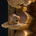 Handcarved Beaver on Cedar Log Corner photo 8