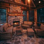 Pine logs provide the framework for the screened porch, which features natural slate flooring, weather-resistant wicker furniture and a wood-burning fireplace, which allows the Amdahls to use the room year-round.