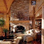 The Tysingers' gas fireplace echoes the rustic homes of early North Carolina settlers, but in far more comfortable surroundings. Lisa and Eddie chose 10-inch round white pine logs for the walls.