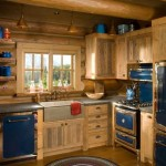 The kitchen achieves old-time appeal with appliances that incorporate blue enamel panels. Coupled with natural wood cabinets and a farmhouse sink, the appliances help make the kitchen comfortable and informal, but completely up to date in performance.
