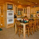 Pine walls, cedar ceilings and hickory cabinets lend a rich, warm feel to the kitchen. It is also stocked with a built-in wine rack and a popup vent hood.