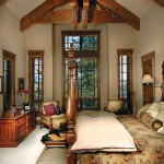 Twelve-foot windows in the master bedroom give the room a mountain view.