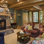 A cedar log home living room and staircase