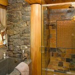 Montana log home bath