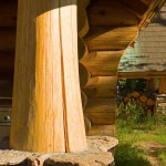 Montana log home fluted butt