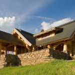 Montana log home side