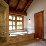 This British Columbian timber-frame home offers a relaxing oasis of peace in its master bathroom.