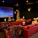 Even the home theater (with a Disney theme naturally) has a little Christmas tree.