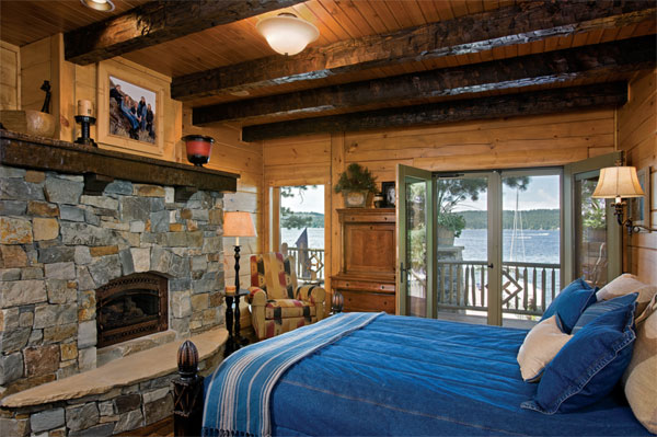 Fireplace Warms Lana And Mark 39 S Master Bedroom With Its Beam Work