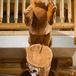 "The carved panther is a signature element—West Coast Log Homes often works with wood carvers and other artisans to create a unique piece for each home they build—and how the home got the name ""Panther Lodge."""