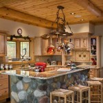 The Walshes' efficient kitchen features rustic hickory cabinets, ceramic tile backsplash and flooring, and granite countertops. Simulated river rock faces the center island under Judi's pinecone-laced pot rack suspended from the tongue-and-groove knotty-pine ceiling accented with pine log beams.