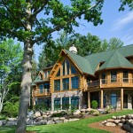 Michigan log home prow windows
