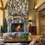 Michigan log home hearth