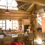 Rustic kitchen cabinets harmonize with the big logs.