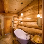 Big logs and a clawfoot tub add drama to the lower bath.