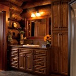 Anita's uncle John built the same style cabinetry in the master bath as in the kitchen but stained it brown.