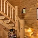 L-shaped half-log stairs lead to the upper-level loft and a quiet master bedroom.