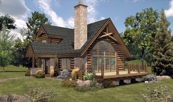 Bay View III - Front Rendering by Wisconsin Log Homes, Inc