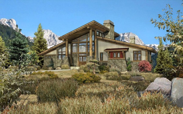 Grandview - Front Rendering by Wisconsin Log Homes (1)
