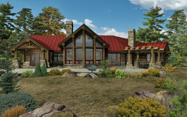 Kodiak Trail II - Rear Rendering by Wisconsin Log Homes Inc (4)