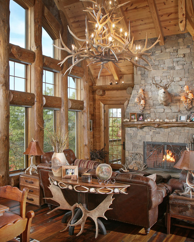 The owners told designer Michael Grant they wanted a weekend retreat that evoked a European hunting lodge. He obliged with rugged but inviting styling that showcases unimpeded views of the surroundings.